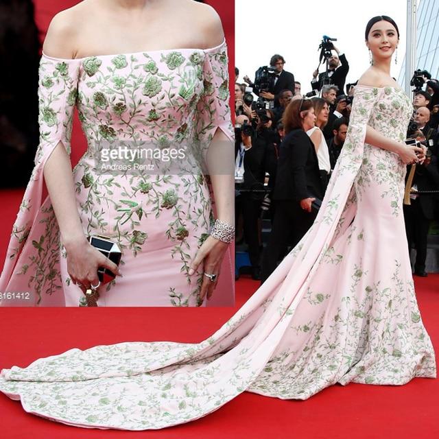 2015 cannes Film Festival 68th Full Embroidery Celebrity dresses Half Sleeve Fanbingbing Red Carpet Dresses