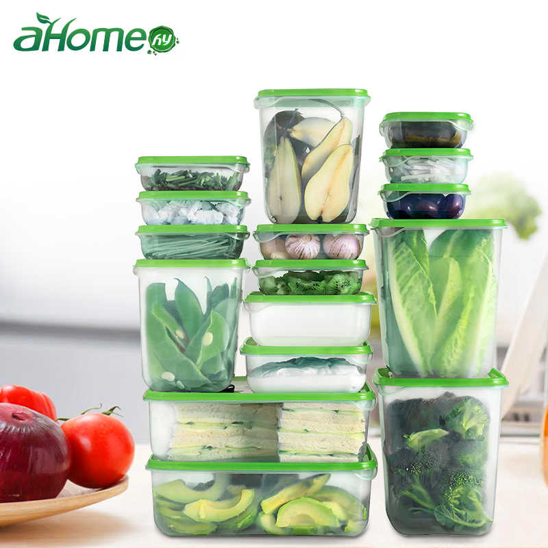 16 pics set Kitchen Storage box with different Size Foods Containers Leak proof Fruits Organizer Crisper Refrigerator B
