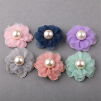 Free Shipping 20PCS 40PCS Chiffon Pearl Core Jewelry Flowers Ornament Accessories Girls Hair Clips Garment Ornament