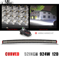 CO LIGHT 52 924W Curved Led Light Bar 12D Offroad Led Work Light 12V 24V Combo for UAZ ATV 4x4 Wagon Driving Automotive Led Bar