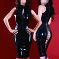 Wholesale PVC Latex Costume Style Summer Sexy Faux Leather Dress Front Zipper Open Back Costume Vinyl Latex Dress