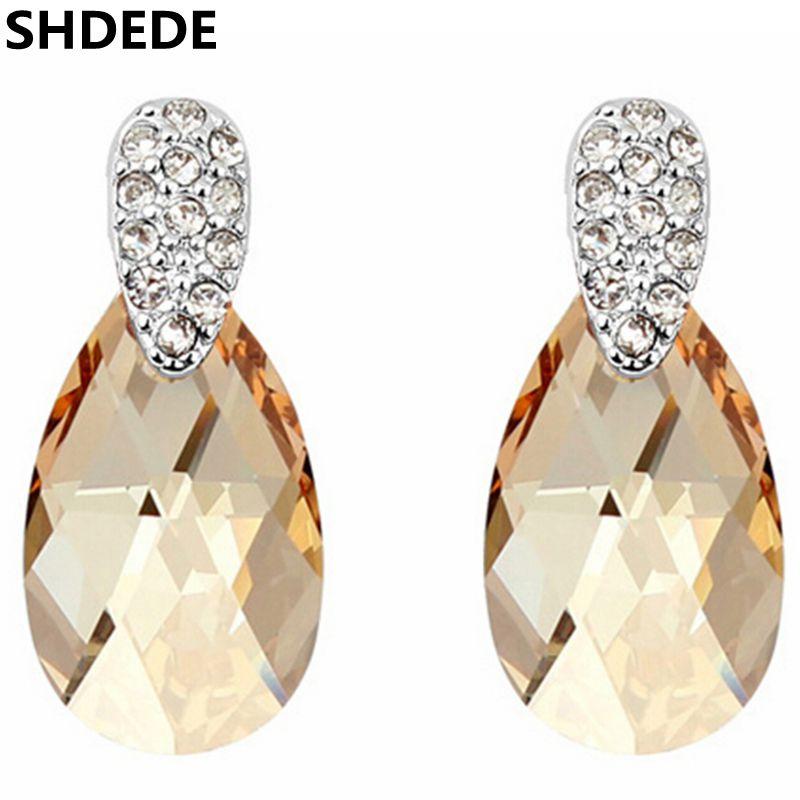SHDEDE New Fashion Earrings For Women Crystal from Swarovski Water Drop Dangle Earrings 5814