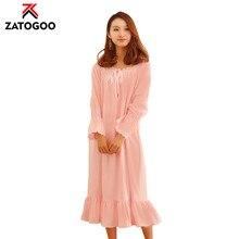 2019 Women Lace Sleep Wear Vintage Nightgown Long Sleeve Pure White Pink Cotton Princess Sleep Dress Loose Nightshirt Homewear lace sleeve bear print sleep dress