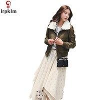 Для женщин зимние кожаные пальто Короткие шерстяной воротник реального овечья кожа зимняя куртка Для женщин хлопок теплое пальто на подкла