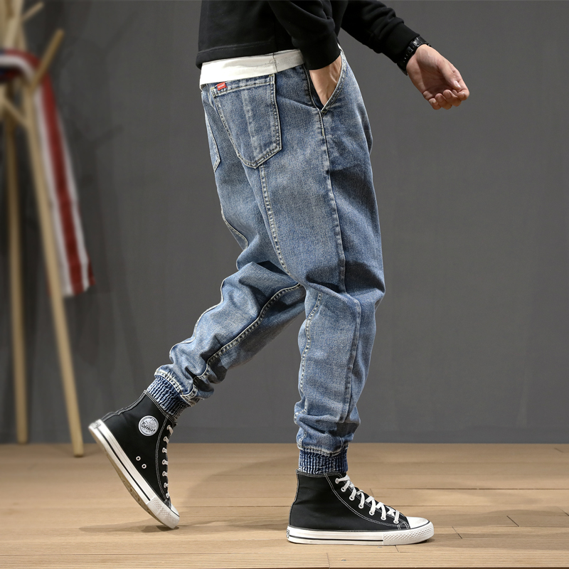 Japanese Style Fashion Men Jeans Loose Spliced Designer Denim Cargo Pants Harem Trousers Slack Bottom Hip Hop Joggers Jeans Men