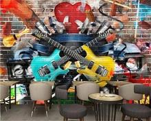 beibehang Custom size Music Fashion Trend 3D Stereo Brick Wall Graffiti Guitar Bar KTV Mural Background behang wallpaper