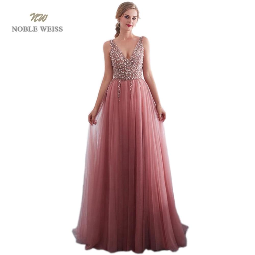 prom dresses 2019 V neck Evening Gown Sexy Beading Split Tulle Prom Dress Floor Length bare