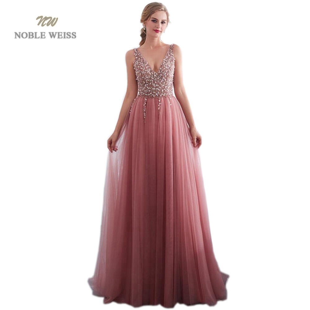 prom     dresses   2019 V-neck Evening Gown Sexy Beading Split Tulle   Prom     Dress   Floor Length bare back Evening   Dress