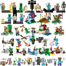 Legoing Minecraft Style Zombie Steve In Action Figures Building Blocks Toys Compatible Legoings Minecrafted City Model Bricks(China)