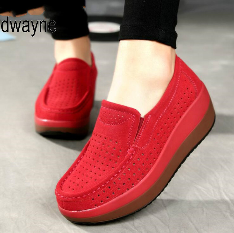 Women Flat Platform Loafers Ladies Elegant   Suede     Leather   Moccasins Shoes Woman Slip On Moccasin Women's blue Casual Shoes 869