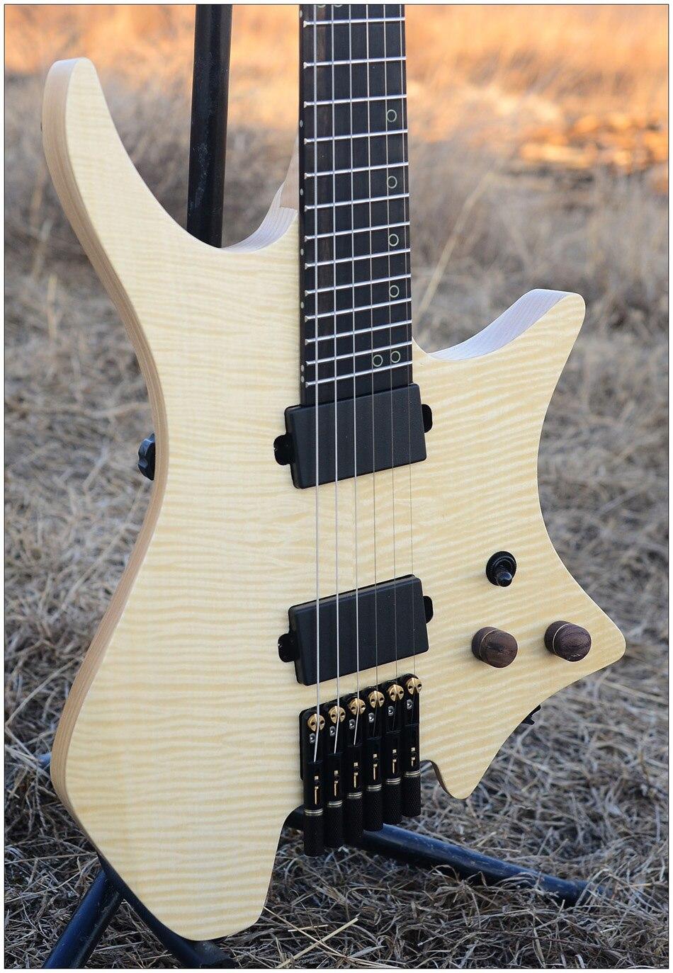 2019 NK Headless Fanned Frets Electric guitar clear Flame Maple top Flame maple Neck Ebony fingerboard Black hardware Guitar