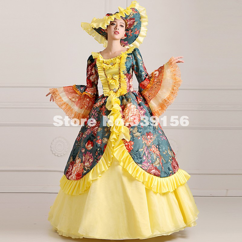 Noble Yellow And Green Floral Printed Long 18th Century Renaissance Victorian Masquerade Ball Gowns Vestido Carnivale Gown Dress