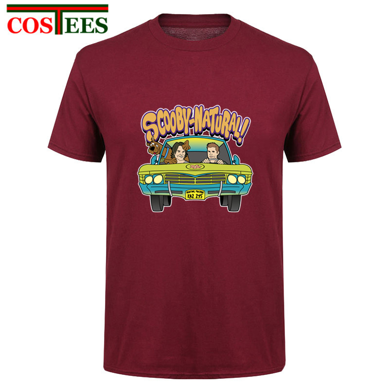 2018 TV show Latest Design Supernatural Mystery Machine   T     shirt   Men's O Collar Men tee   shirt   male Fashion Scooby-Natural   T  -  shirt