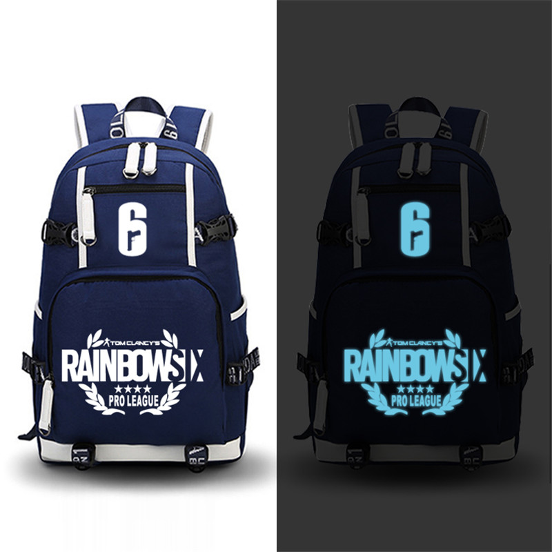 High Quality Game Tom Clancy's Rainbow Six Siege Luminous Printing Backpack Military Men Backpack Canvas School Bags Laptop Bags оправа miu miu miu miu mi007dwhag36