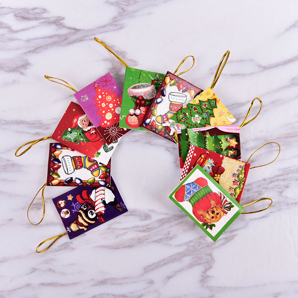 10PCS Mini Santa Claus Greeting Cards Message Card Xmas Holiday ...