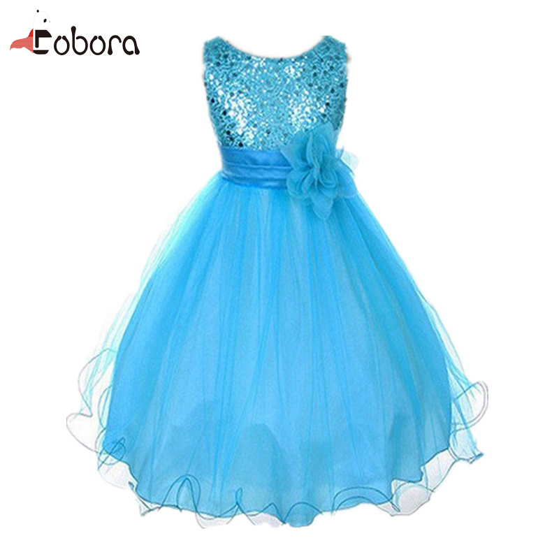 Kids Baby Girls Clothing Children Dress Princess Girl Sequined Flower Ball Gown Party Dresses One Piece Daily Kids Clothes newborn girls dresses 2017 new summer sleeveless baby girl lace dress ball gown kids dress princess girl children clothes 3ds092
