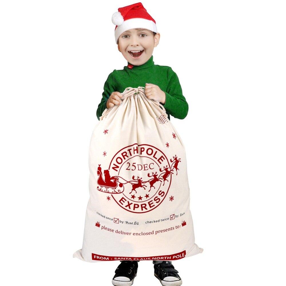 OurWarm Big Santa Christmas Gift Bags Canvas Cotton Bag for Gifts Xmas Sack Stocking Present Drawstring