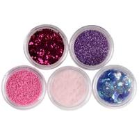 Yeni 60 Kutu Renk 5 Stil Kırma Shell Akrilik Nail Art Glitter Toz İpucu Dekorasyon