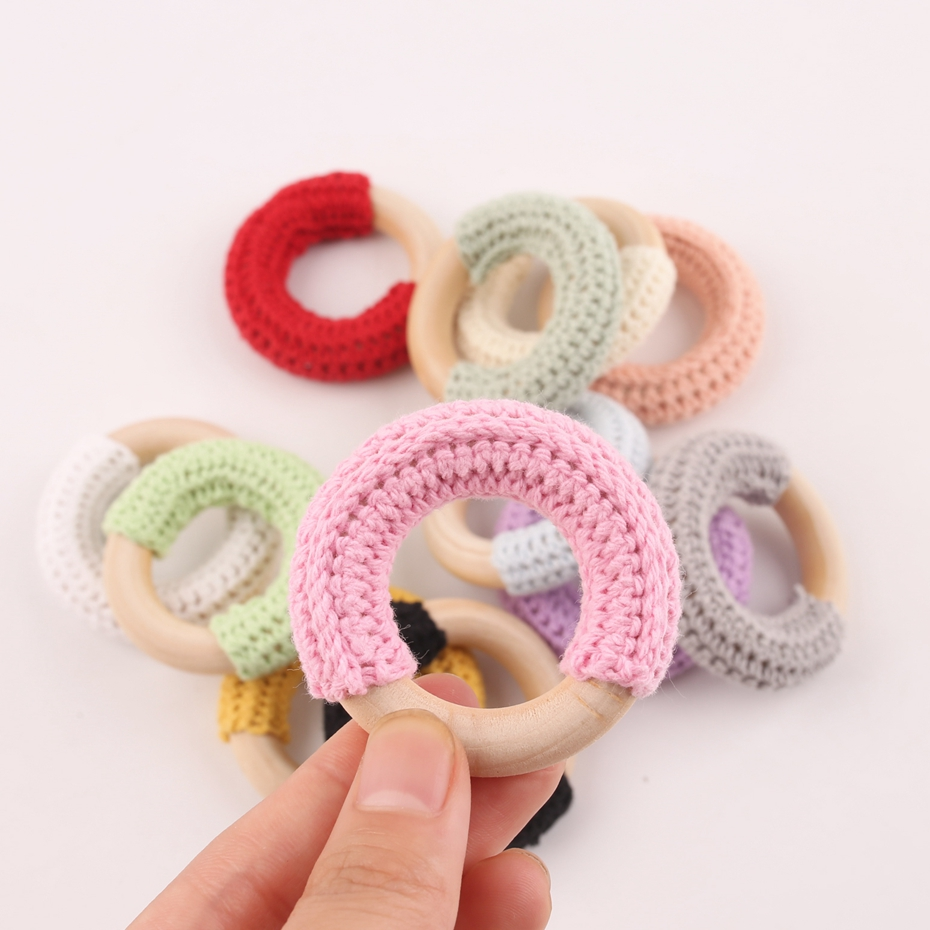 20pcs 50mm Wood Teether Crochet Wood Ring 12 Color Safe Newborn Kids Teething Toys Pendant For DIY Babies Ring Baby Teether