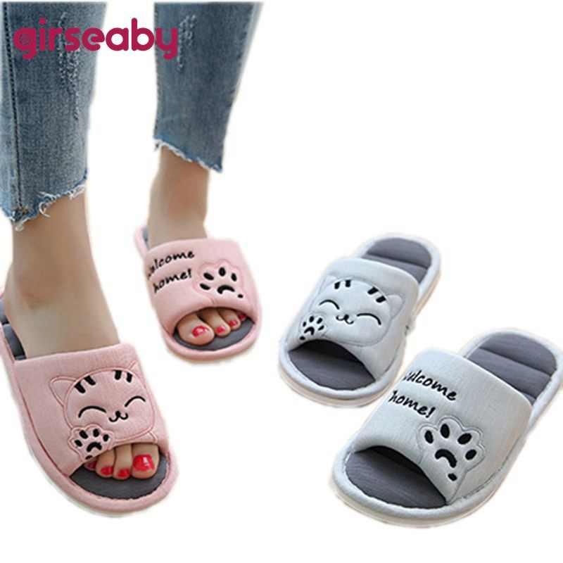 9f60f5ab2 Girseaby Cartoon Cat 2018 Women Flip Flops Lovers Couple Slip Comfortable  Slippers In Home Slippers Sandals