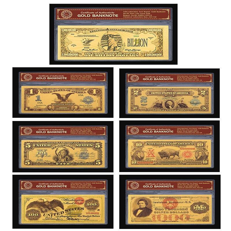 Красочные 24K золотые банкноты USD один Bilion доллар поддельные деньги. 999 Америка банкноты для сувенира подарок 1901 1878 1899