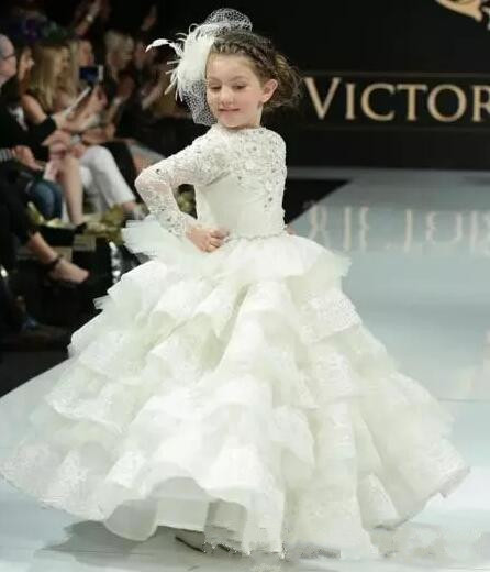 Christmas Beauty Pageant Outfits.Luxurious Lace Crystals Layered Ball Gown Flower Girl Dresses Pageant Gown Beautiful Girls Birthday Dresses Christmas Dress