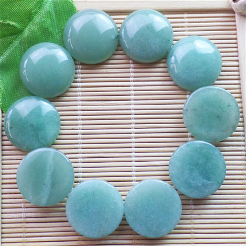 (10 pieces/lot) Wholesale Natural Green Aventurine Round CAB CABOCHON 20x6mm Free Shipping Fashion Jewelry ZY3364