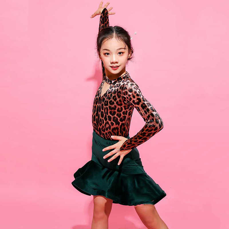 6ed0a1be9 ... Classic Girls Latin Dance Costume Leopard Print Dancing Top Green Skirt  Tango Practice Wear Kids Ballroom ...