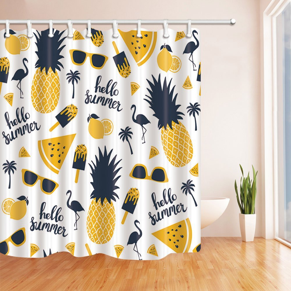 Summer Fruit Decor Flamingo In Watermelon And Pineapple Shower Curtain Polyester Fabric Waterproof Bath Curtains From Home Garden On