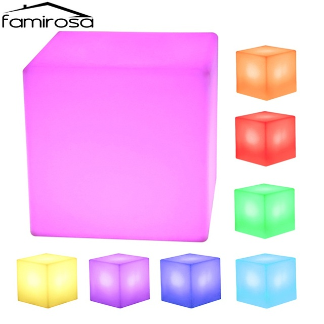 Famirosa LED Cube Living Room Stools Rechargeable Cordless ...