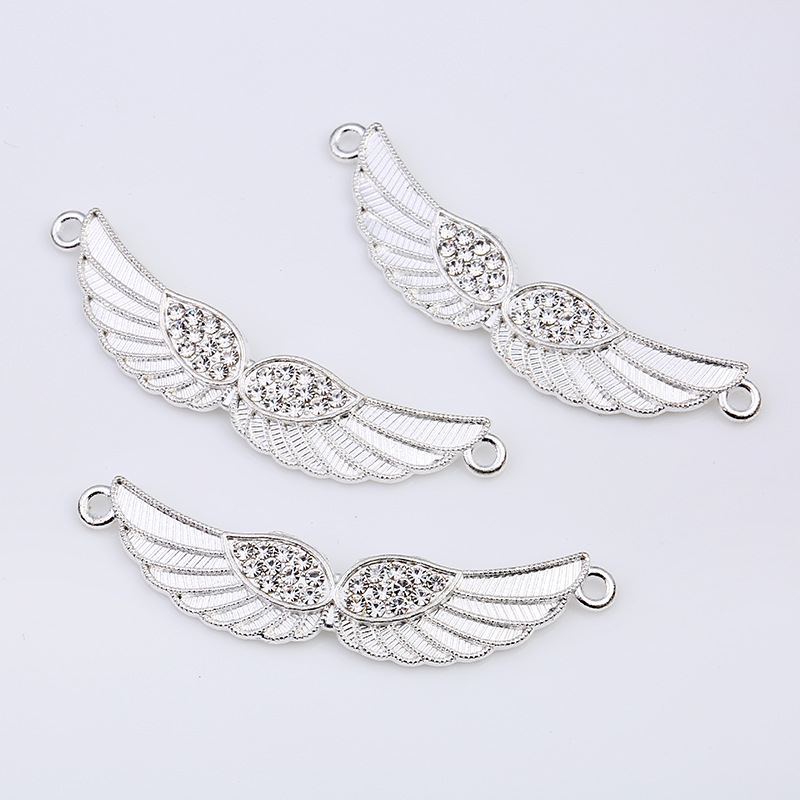 10pcs/lot Silver Color Crystal Angel Wings Charm Connectors for Bracelet Necklace Jewelry Making Findings Accessories