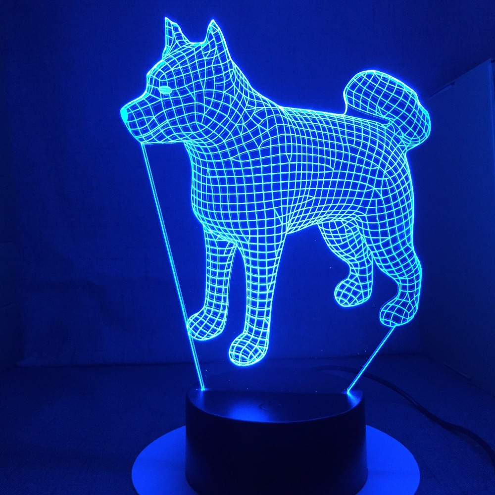 American Japanese Akita Samoyed Husky Dog 3d Lamp 7 Colors Changing Desk Lamp Novelty Led Night Lights Led Light Drop Shipping