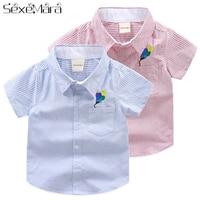 Kids' Wear Summer Top Boys Shirts Children Shirt For Boy Children's Clothes 2 6 Year Old Boys Blouse Striped Short Sleeved Shirt