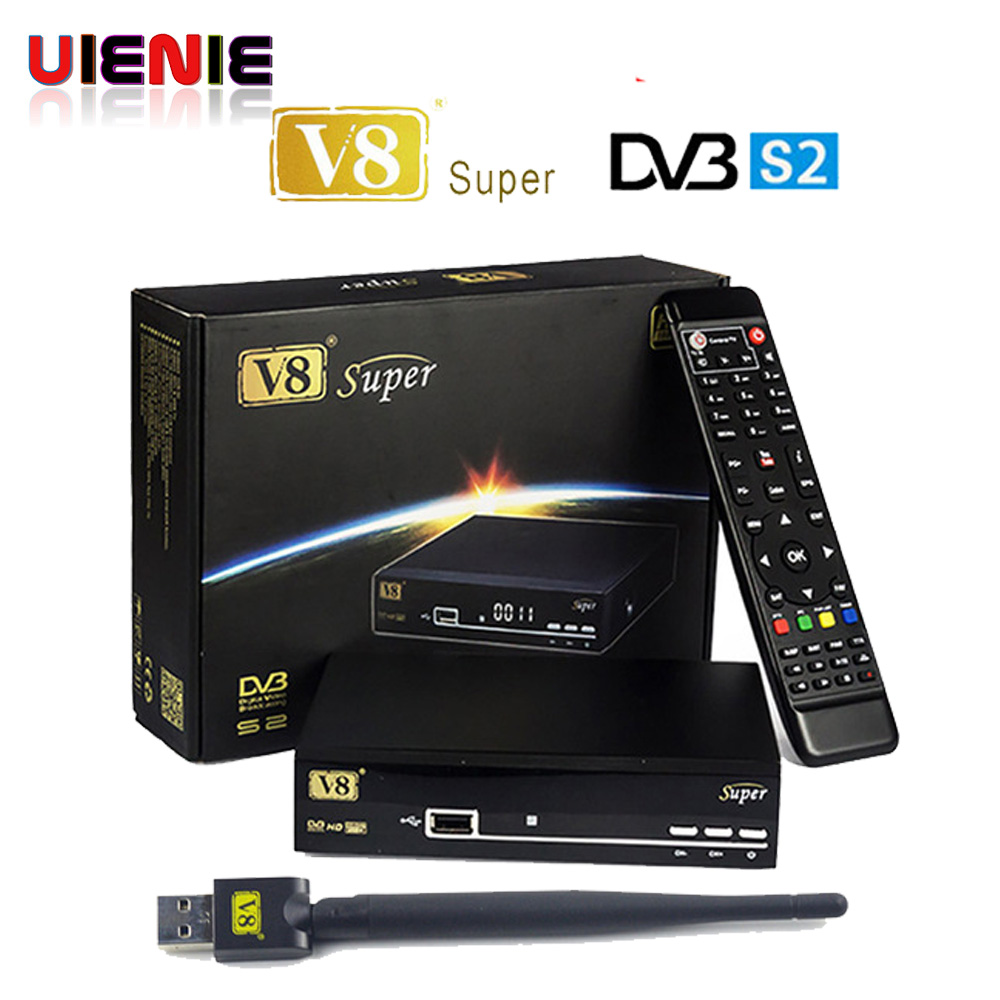 5pcs V8 Super DVB S2 Satellite TV Receiver With USB Wifi Support PowerVu Biss Key clines