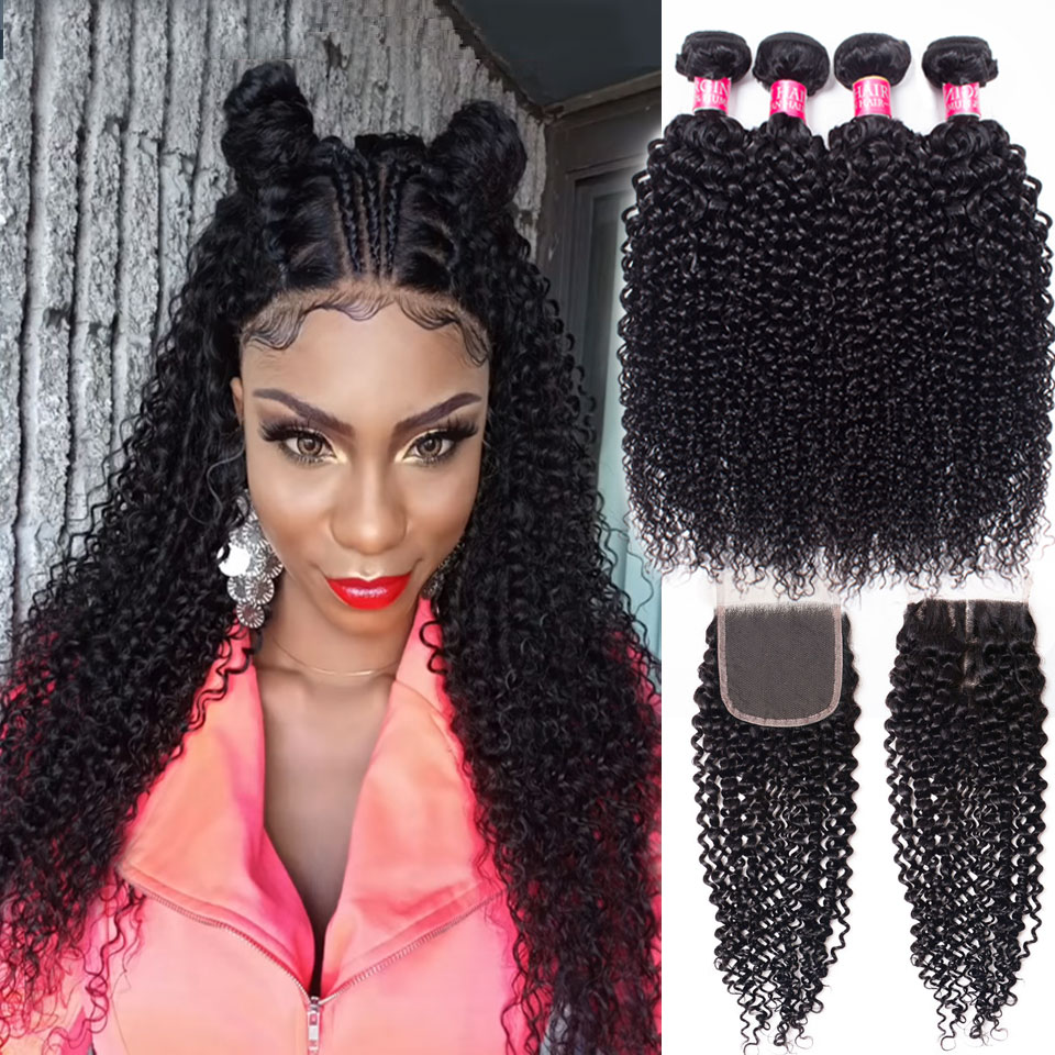 mongolian afro kinky curly 2 4 bundles with closure human hair bundles with closure brazilian hair weave bundles with closure