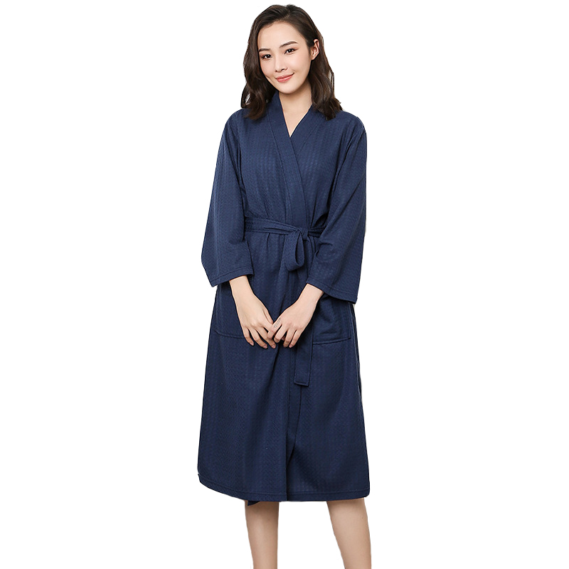 Summer Women Robe Solid Lady Sleepwear Cotton NightgownChinese Spa Home Dress New Nightwear Sexy Nightdress Kimono Bathrobe Gown