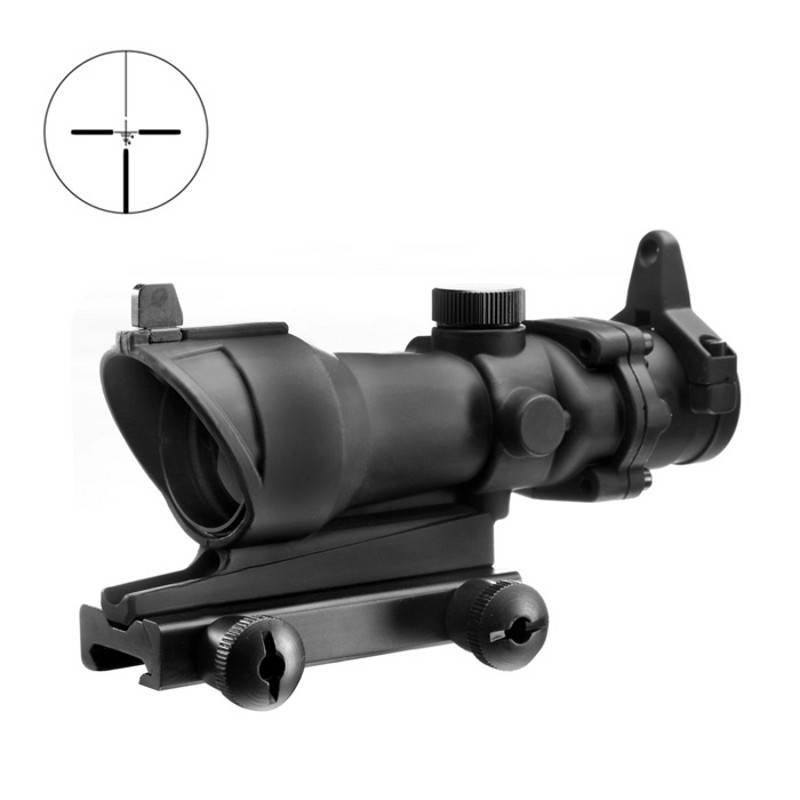 Aim Acog 4X32 Scope With Iron Mount Telescopic Optical Sight Sniper Riflescope Hunting Shooting Rifle Scope AO5310 aim o hunting reddot acog 4x32 optical rifle telescope red green reticle with mount 1 set ao5318