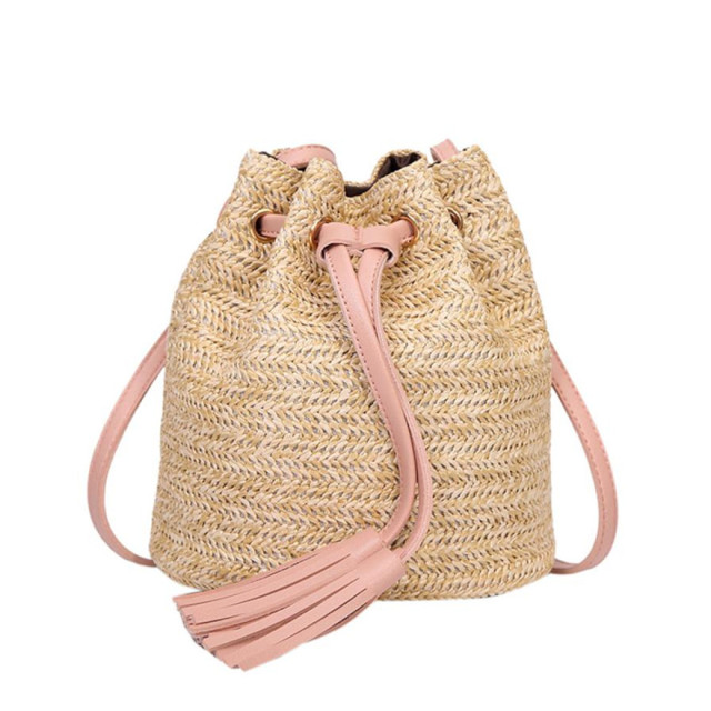 Women's High Capacity Weave Fashion Shoulder Bucket Bag