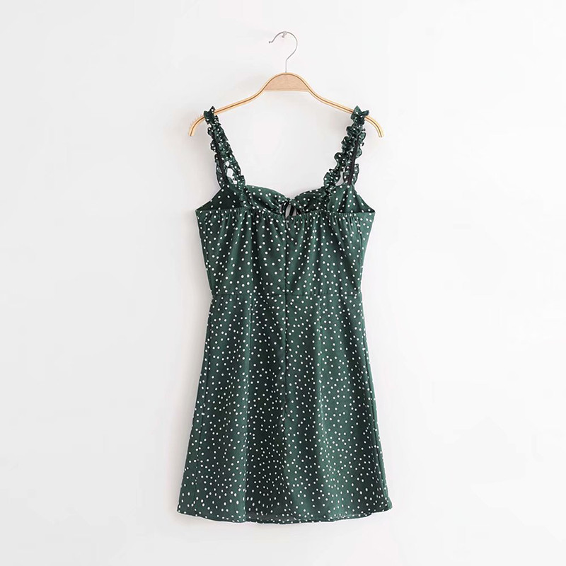 yinlinhe Green Polka Dot Women Dress Sleeveless V neck Strap Summer Dress Backless Elegant Lace Up Vintage Vestidos 6