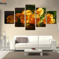 Fashion 5pcs Lot High Quality Hot Sell The Home Decorates Flower Canvas Painting HD Image Oil