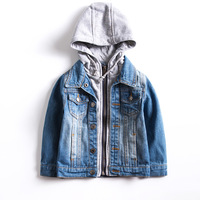 Fashion Autumn Boys Jackets Kids Clothes Zipper Overcoat 3 9 Years Soft Costume Hooded Boy Jeans