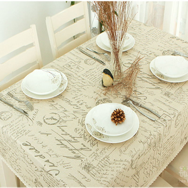 pure linen cotton table cloth coffee tea table map scenic bohemia floral flower europe american modern