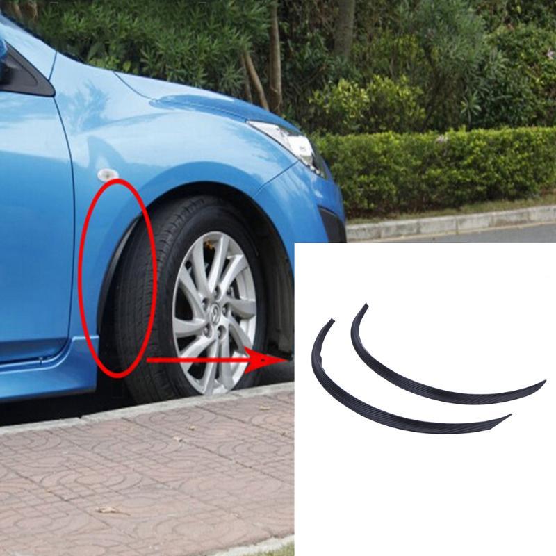 2pcs Universal Car Wheel Eyebrow Protector Carbon Fiber Style Fender Flares Round Arc St ...