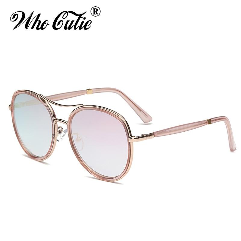 957e6b7d62 Who Cutie 2018 Original Transparent Pink Round Sunglasses Men Women Brand  Designer Vintage Retro Female Sun Glasses Shades OM296