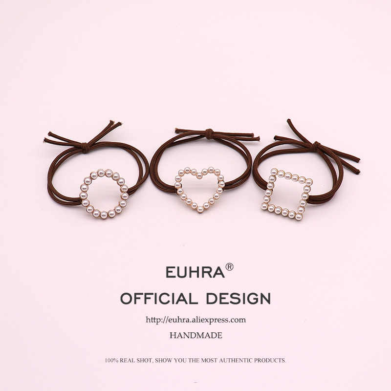 EUHRA 6 Colors Elastic Pearl Inlay Shape Heart Square Round For Women Hair Band Kid Children Rubber Band High Elasticity