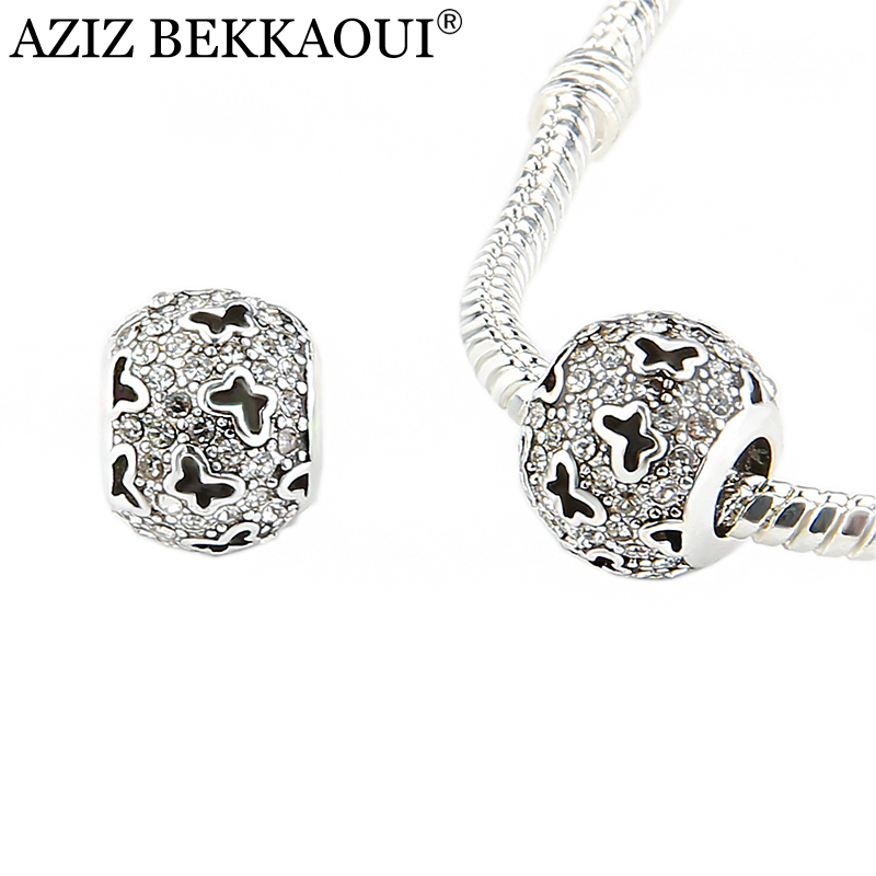 Cz Diamond Beads: Original Crystal Butterfly Charms Accessories Silver