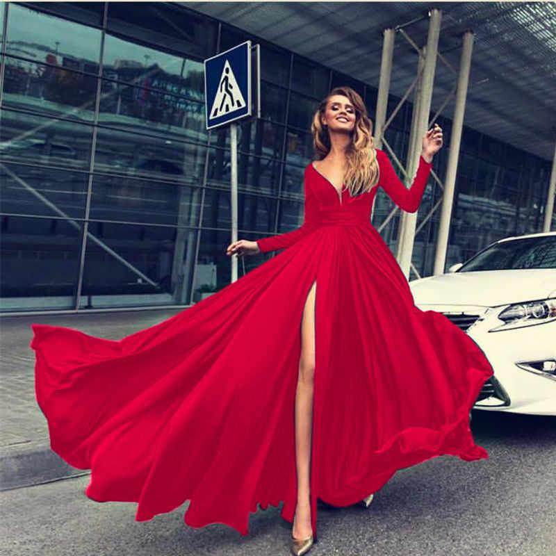 Herbst Frauen Strand Boho Maxi Lange Kleid Vintage Tief Sexy V-ausschnitt Split Femme Casual Party Kleider Langarm Vestido