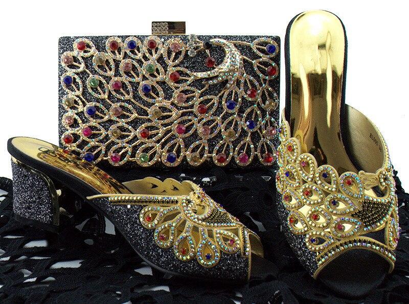 Довольно Серебро с цветными камнями дизайн высокий каблук тапочки обувь с сумочкой комплект для Вечеринка BL005