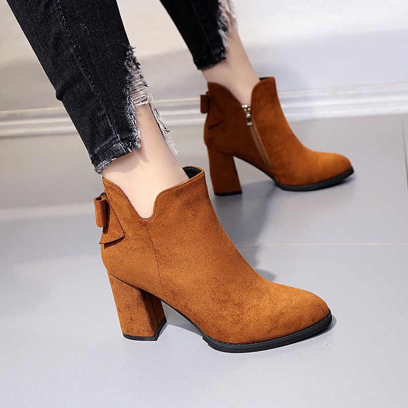 Suede Leather Women Boots Autumn Winter Natural Butterfly-knot Ankle Boots Women Fashion Square Toe Thick High Heel Ladies Shoes hongyi women motorcycle biker ankle boots glossy leather rhinestone crystal ridding bootie bow butterfly knot shoes thick heels