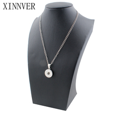 Classic Simple Round Necklace Charm With Chain Necklace Fit 18/20mm Snap Buttons Xinnver Snap Jewelry ZG043